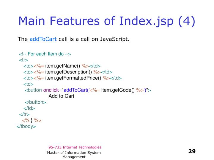 Main Features of Index.jsp (4)