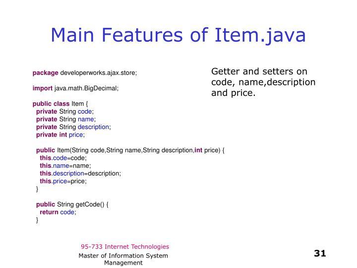 Main Features of Item.java