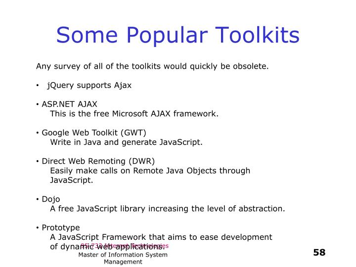 Some Popular Toolkits