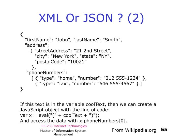 XML Or JSON ? (2)