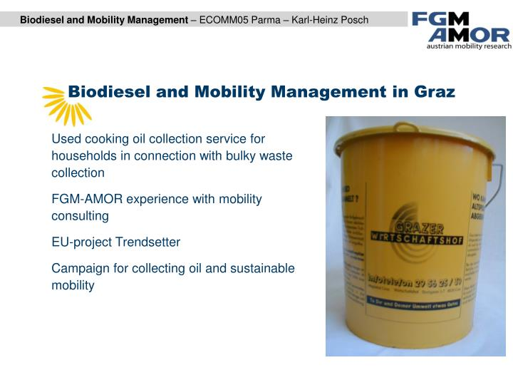 Biodiesel and Mobility Management in Graz