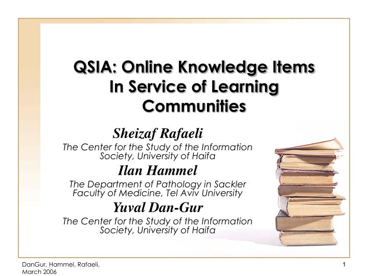 qsia online knowledge items in service of learning communities n.