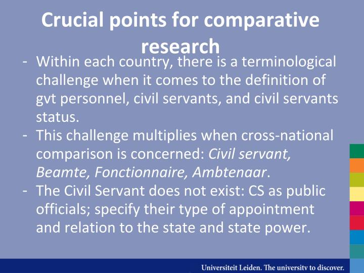Crucial points for comparative research