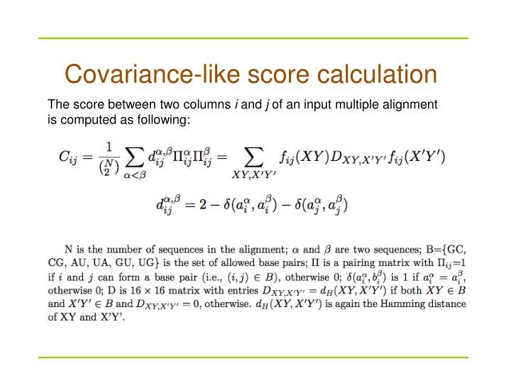 Covariance-like score calculation