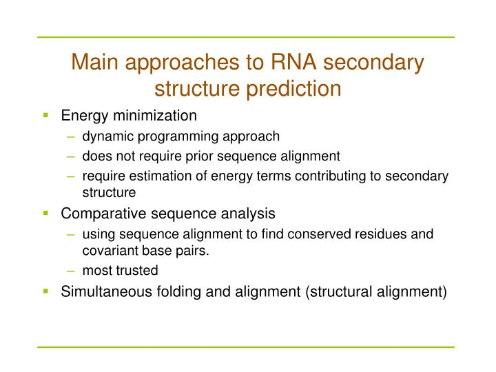 Main approaches to RNA secondary structure prediction