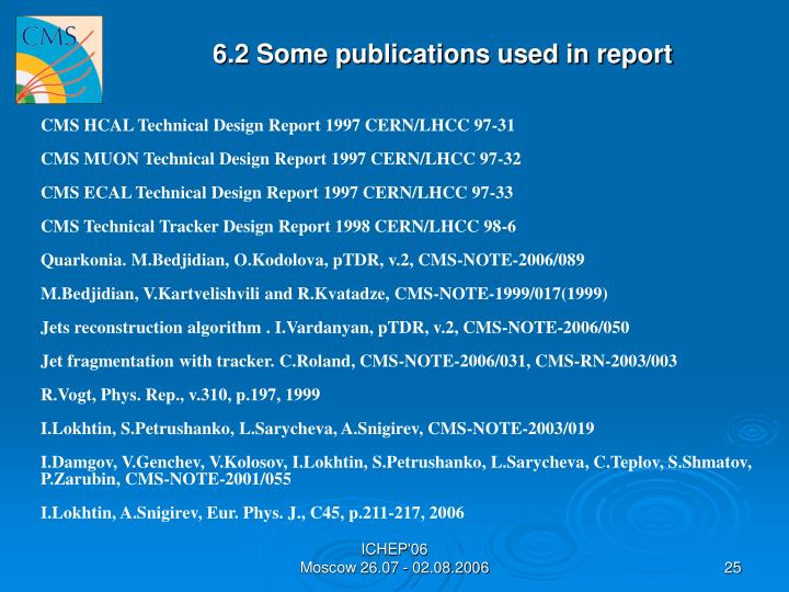 6.2 Some publications used in report