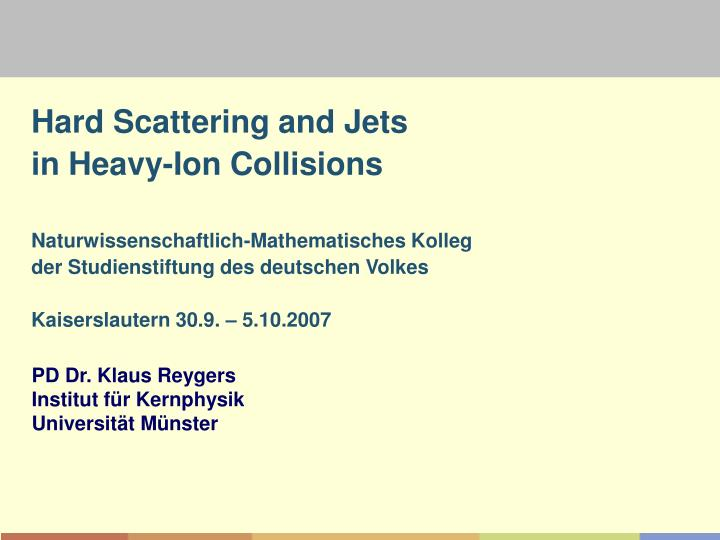 Hard Scattering and Jets