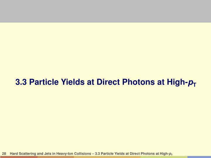 3.3 Particle Yields at Direct Photons at High-