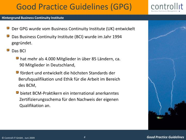 Good Practice Guidelines (GPG)