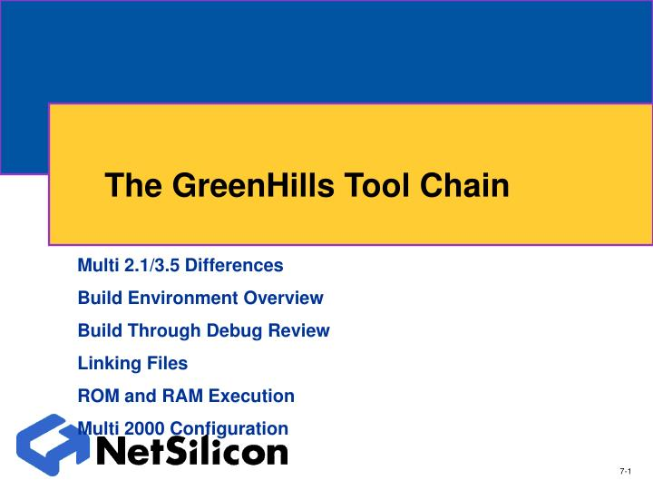 the greenhills tool chain n.