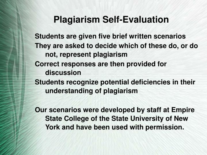Plagiarism Self-Evaluation