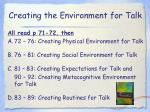 creating the environment for talk