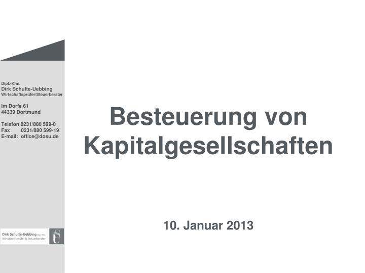 besteuerung von kapitalgesellschaften 10 januar 2013 n.