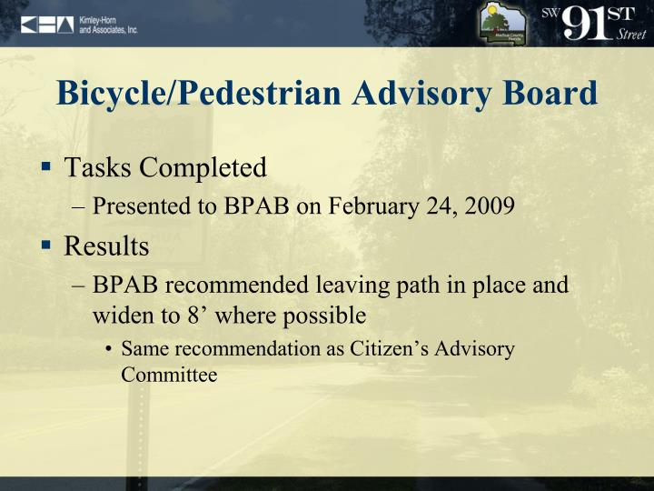 Bicycle/Pedestrian Advisory Board