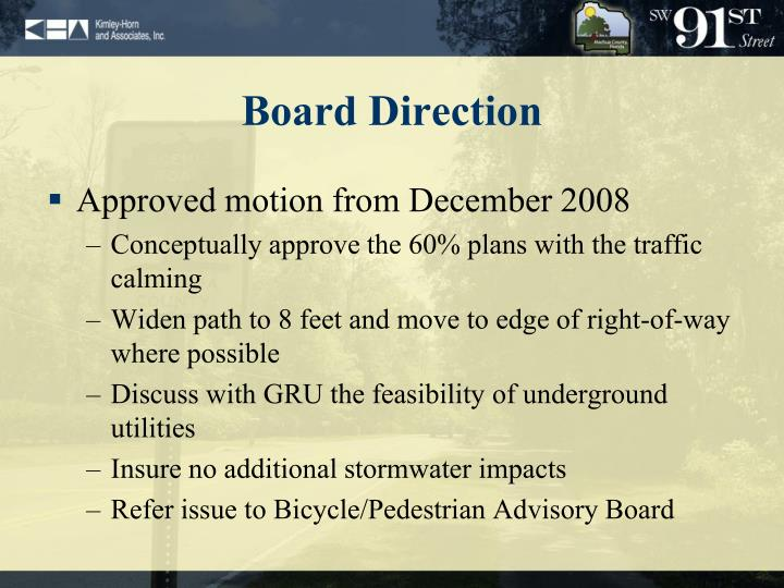 Board direction