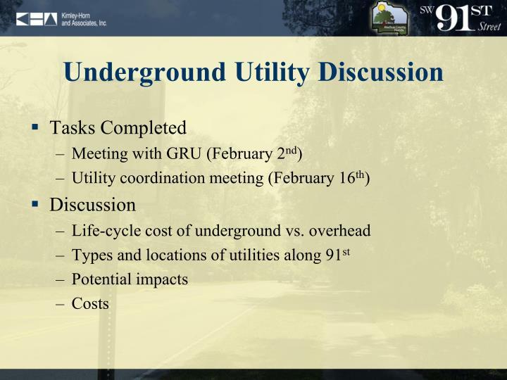 Underground Utility Discussion