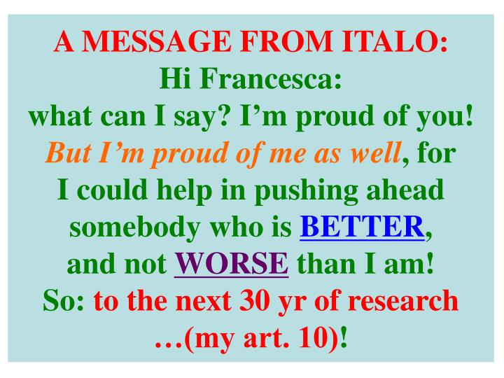 A MESSAGE FROM ITALO: