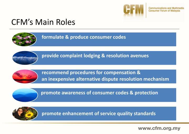 CFM's Main Roles