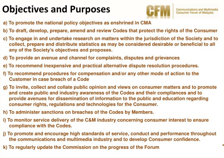 Objectives and Purposes