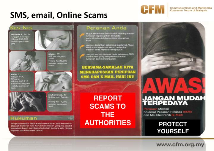 SMS, email, Online Scams