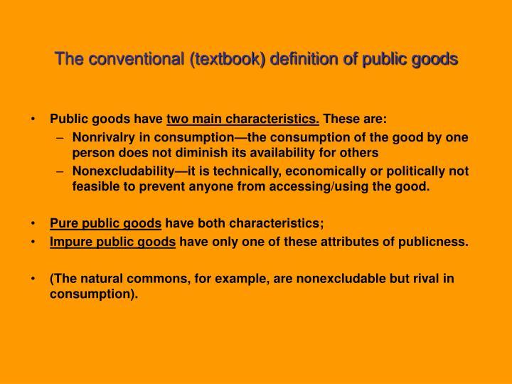 characteristics of pure public goods
