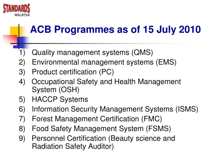 ACB Programmes as of 15 July 2010