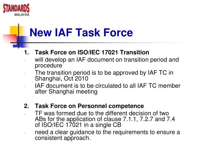 New IAF Task Force