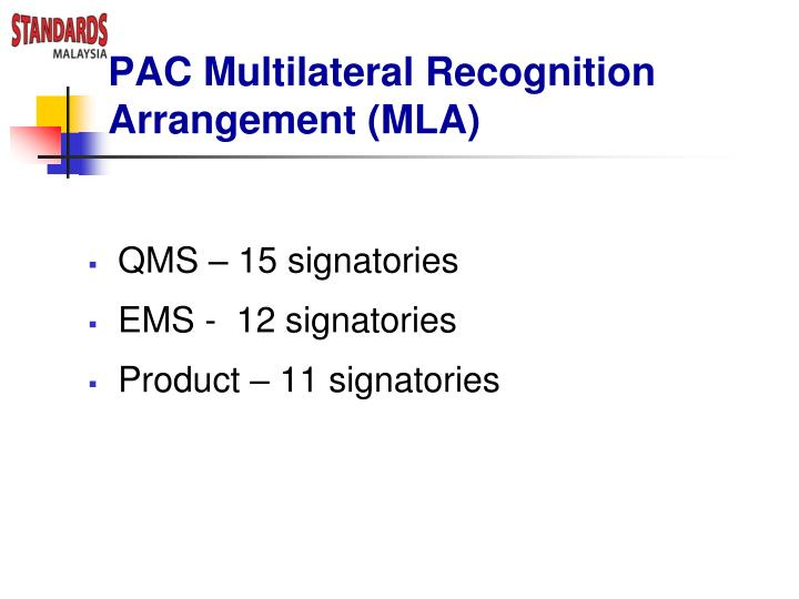 PAC Multilateral Recognition Arrangement (MLA)