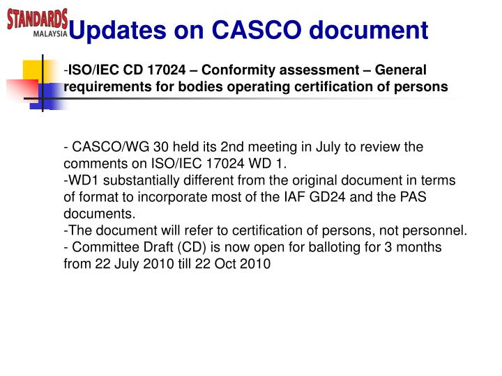 Updates on CASCO document