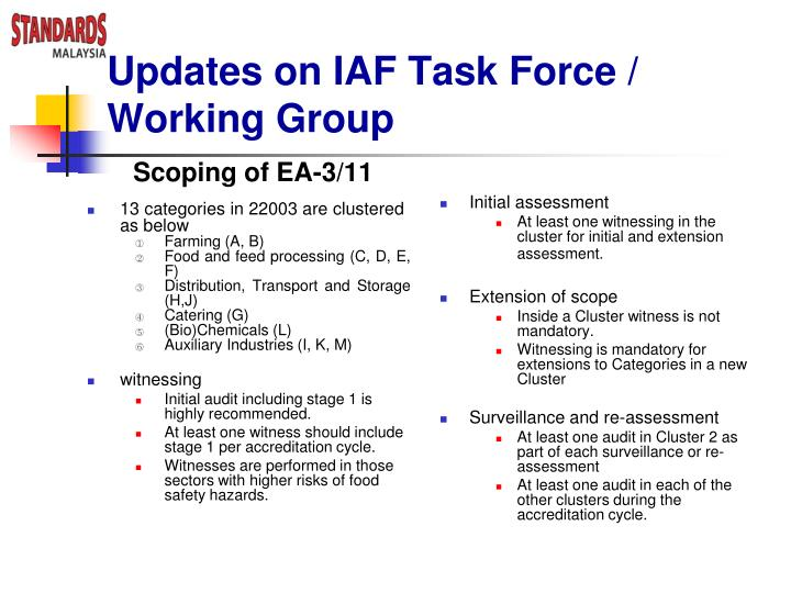 Updates on IAF Task Force / Working Group