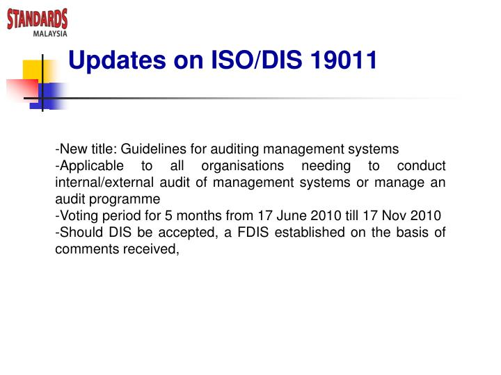 Updates on ISO/DIS 19011
