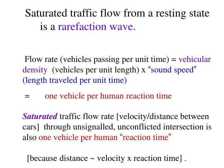 Saturated traffic flow from a resting state is a
