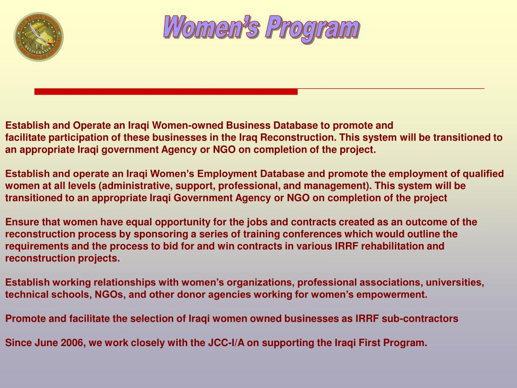 PPT - Strong women build strong nations Supporting the Iraqi
