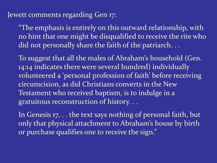 Jewett comments regarding Gen 17: