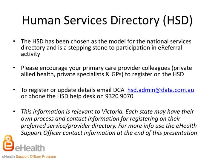 Human Services Directory (HSD)