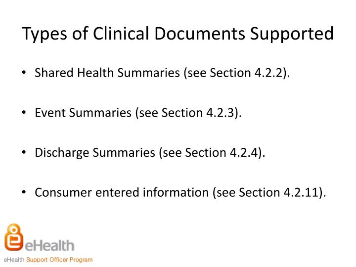 Types of Clinical Documents Supported
