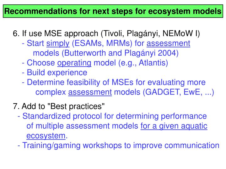 Recommendations for next steps for ecosystem models