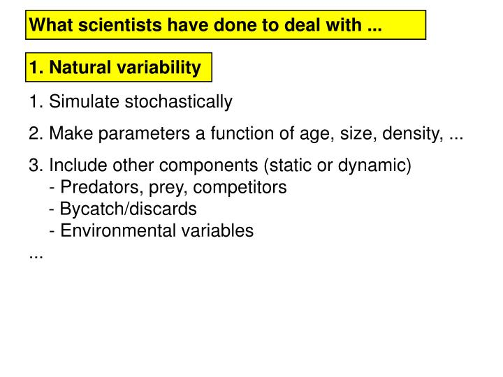 What scientists have done to deal with ...