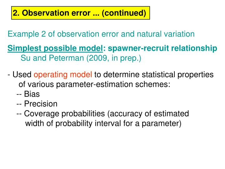 2. Observation error ... (continued)