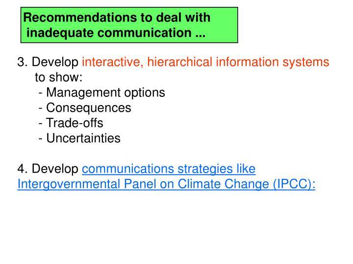 Recommendations to deal with