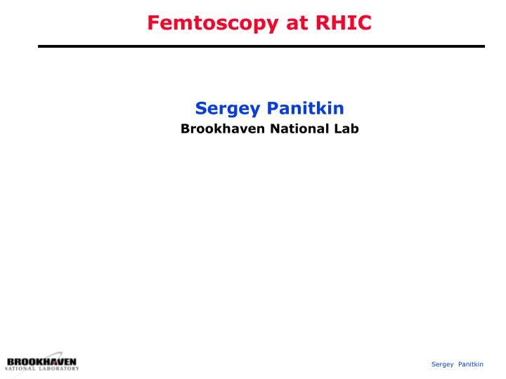 femtoscopy at rhic n.