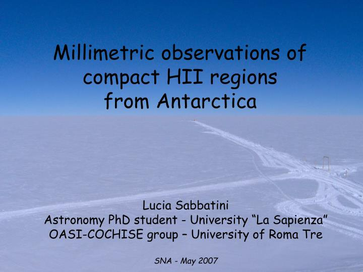 millimetric observations of compact hii regions from antarctica n.