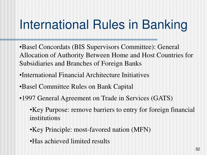 International Rules in Banking