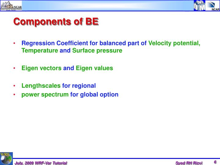 Components of BE