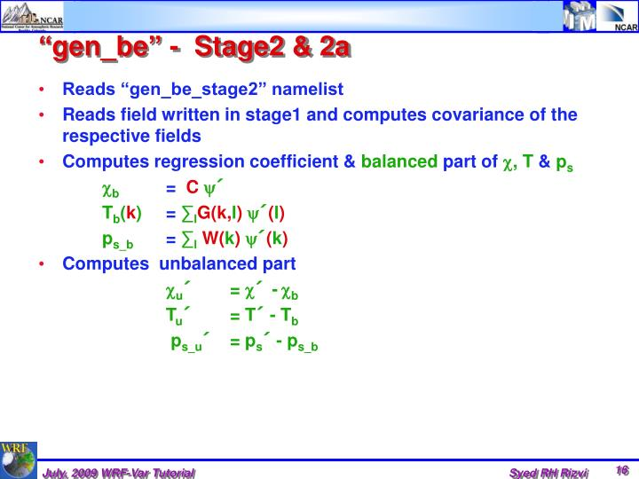 """gen_be"" -  Stage2 & 2a"