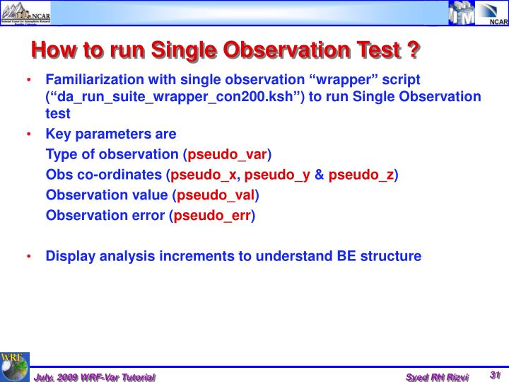 How to run Single Observation Test ?