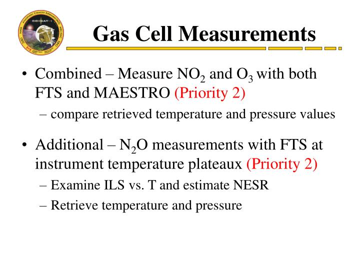 Gas Cell Measurements