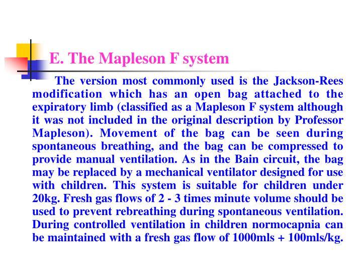 E. The Mapleson F system