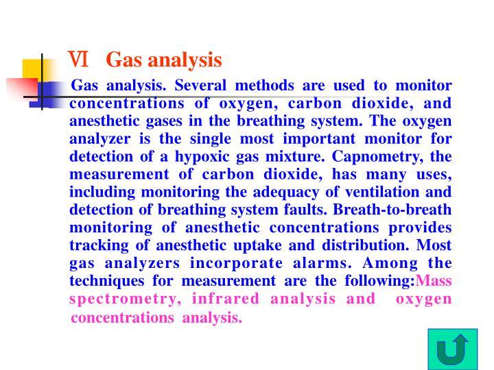 Ⅵ   Gas analysis