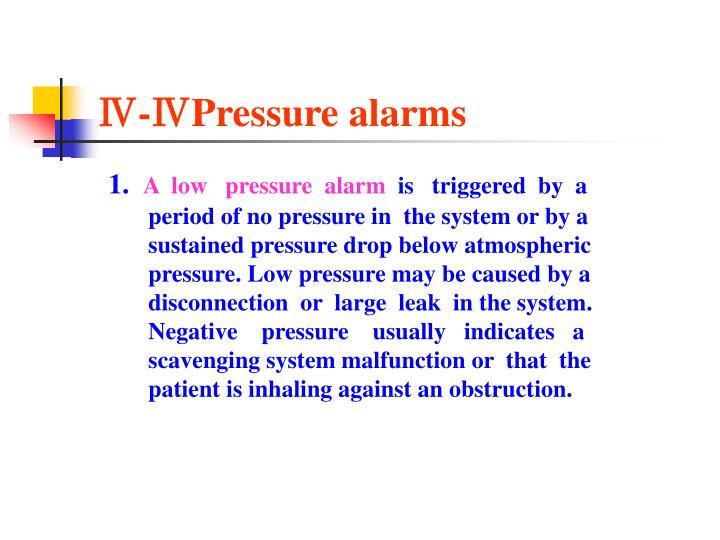 Ⅳ-ⅣPressure alarms